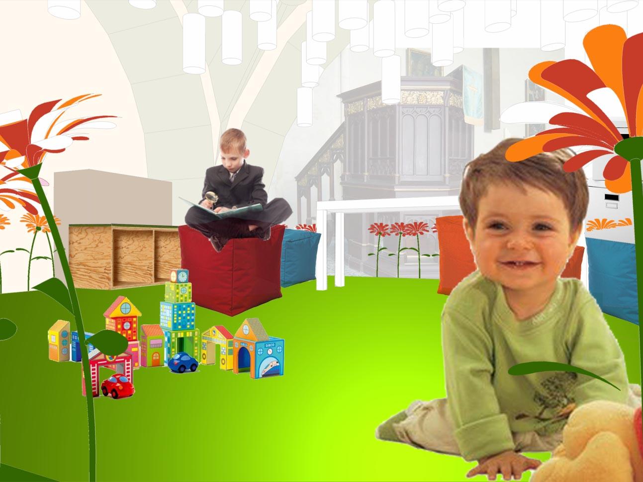 Ausschnitt Spielwiese mit Kindern
