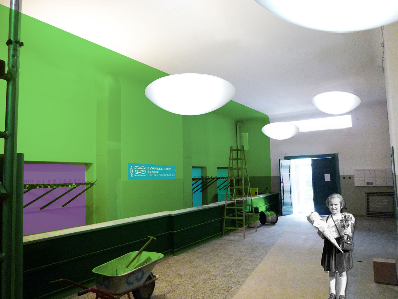 "ESBF Farbkonzept Foyer ""Schulfarben"""
