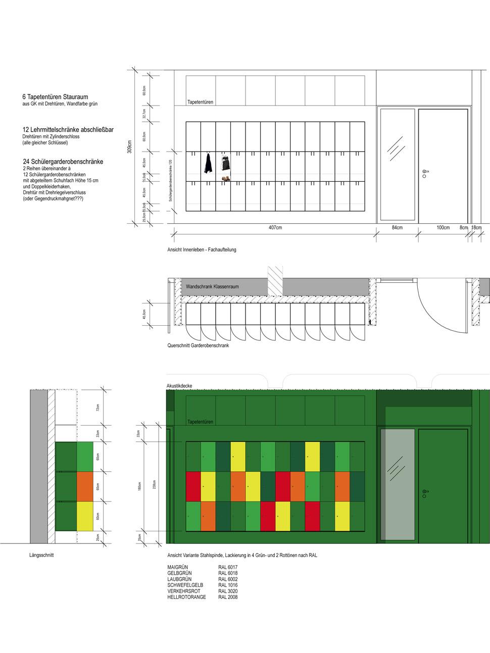 ESBF Flurgarderoben, Entwurfszeichnung