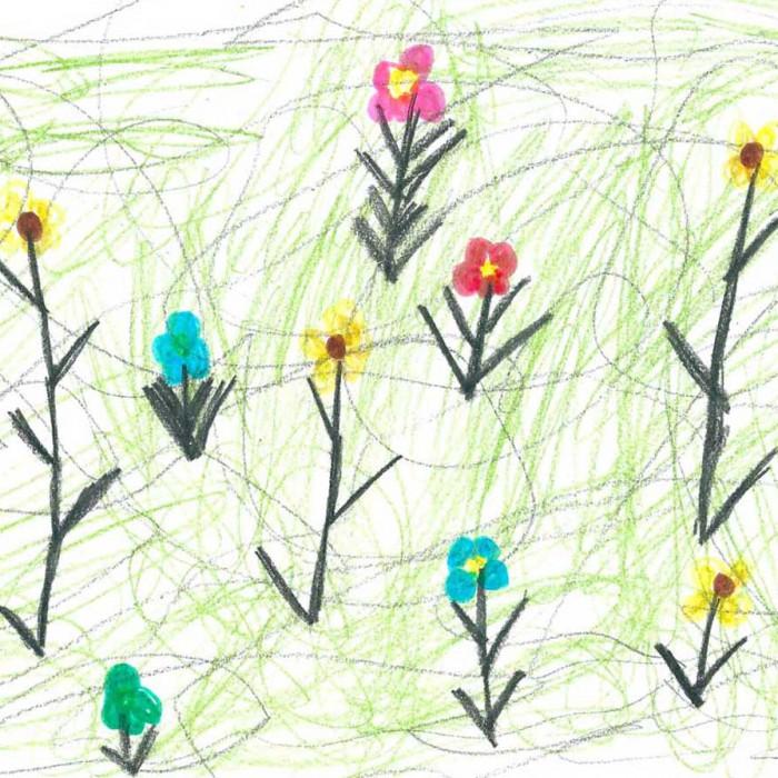 Blumenwiese gemalt